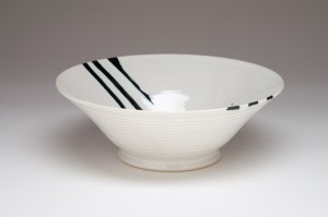 White with Black Striped Bowl