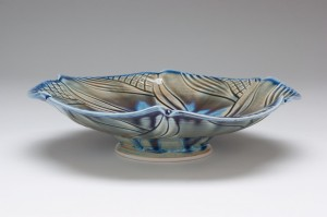 Pin Wheel Blue Bowl - side view