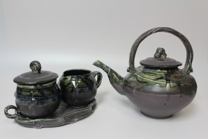 Purple teapot  with creamer &  sugar bowl