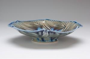 Pin Wheel Blue Bowl - side view