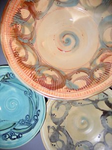 Slip painted bowls
