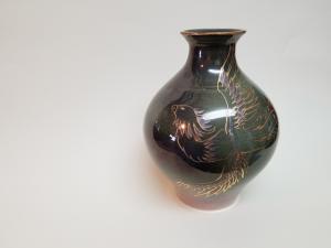 Painted bird vase
