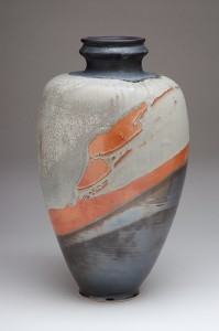 Grey, black and orange vase